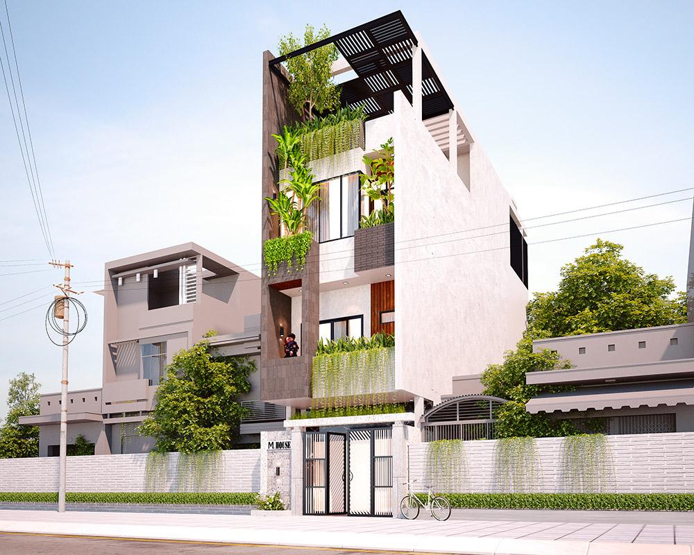 Mẫu thiết kế nhà đẹp 3 tầng 1 tum ở Đà Nẵng