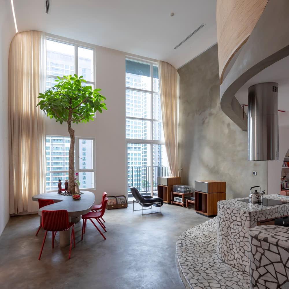 MÀI sử dụng ngôn ngữ vật liệu chính là terrazzo, gợi lại cảm giác mát và phẳng mịn