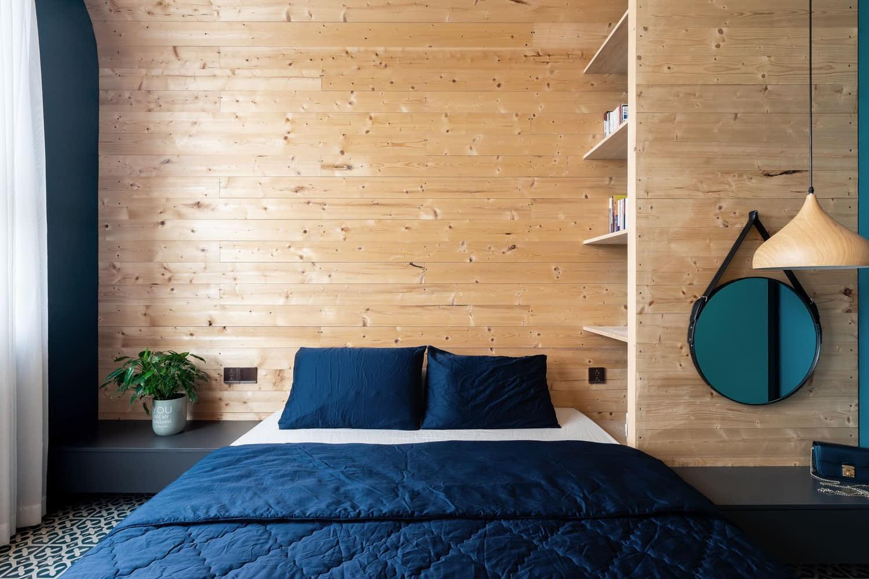 Phòng ngủ được thiết kế tối giản nhưng không kém phần sang trọng