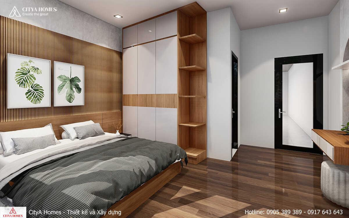 Cách bố trí tủ gỗ acrylic chạm trần giúp căn phòng tiết kiệm được không gian diện tích