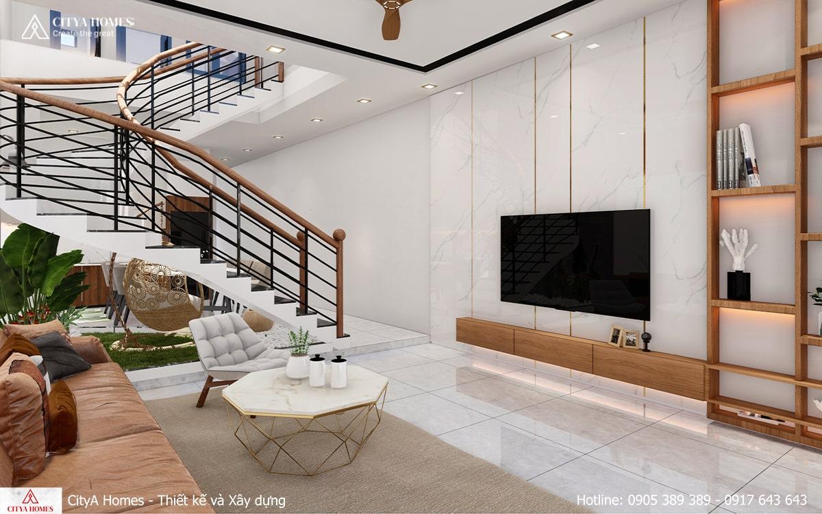 Cầu thang uốn cong trở thành điểm nhấn mới cho căn nhà
