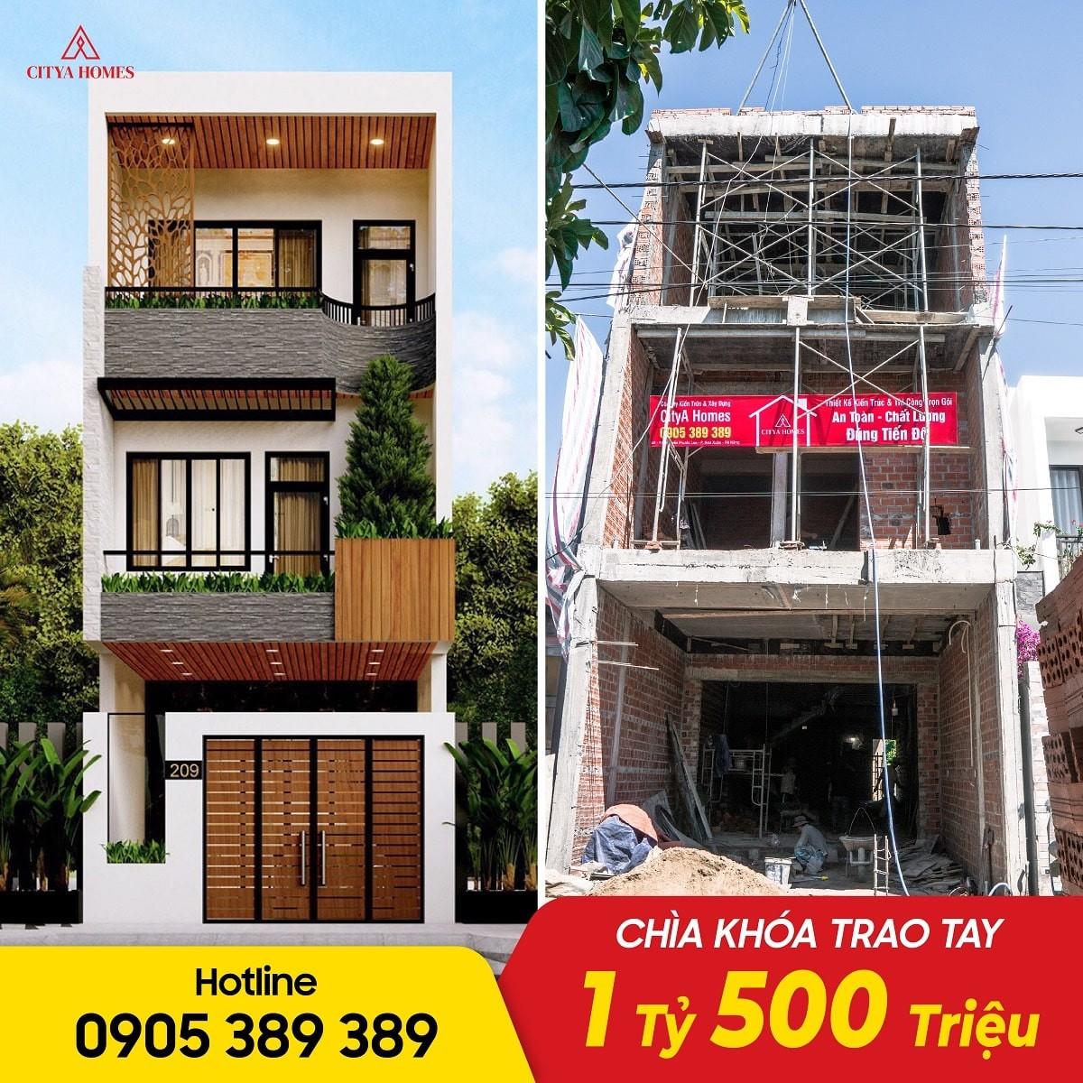 Hình ảnh Thực Tế Nhà 2 Tầng 1 Tum ở Đà Nẵng