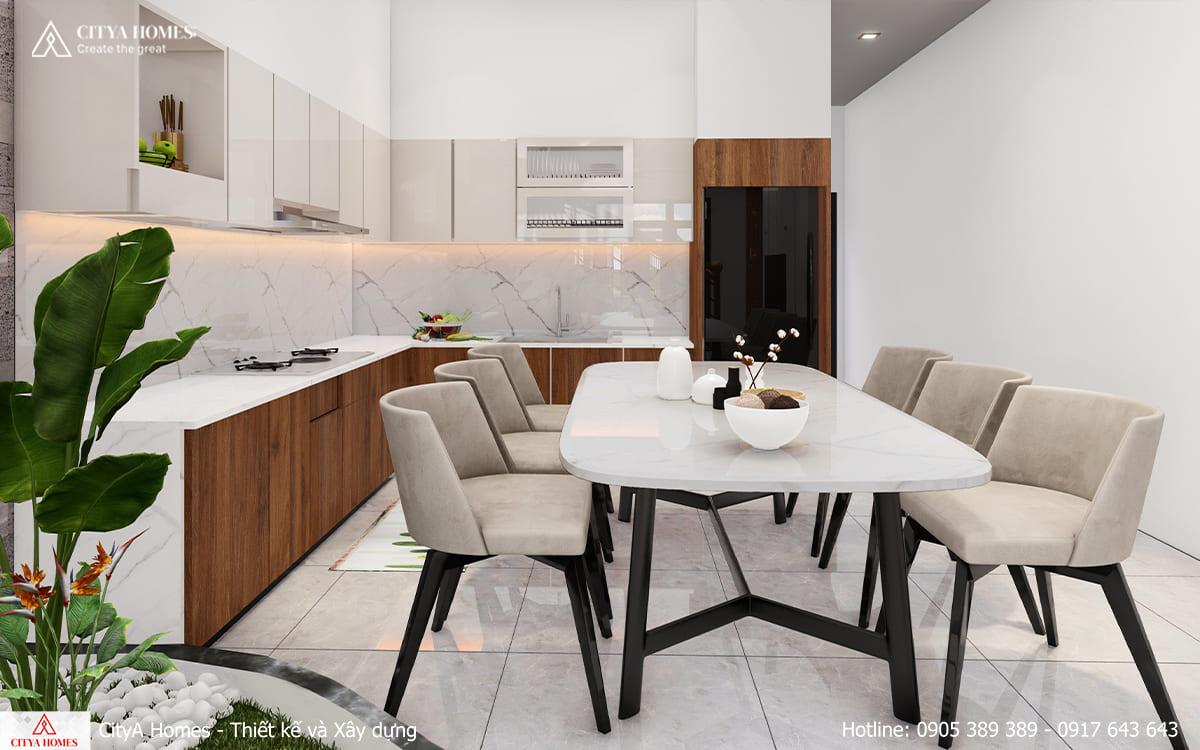 Phòng bếp sáng với tone màu sáng trắng sạch sẽ
