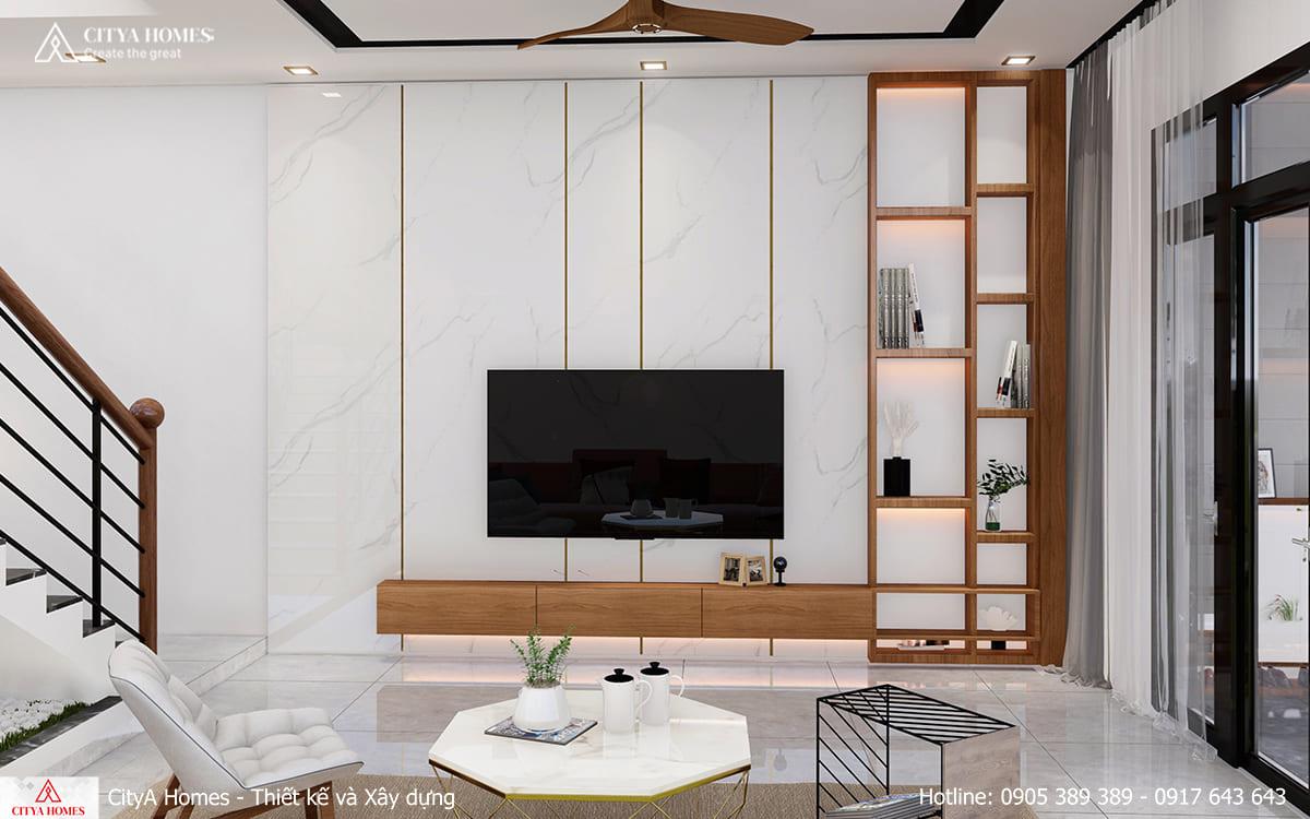 Phòng khách được bài trí tối giản nhưng vẫn đảm bảo đạt độ thẩm mỹ cao