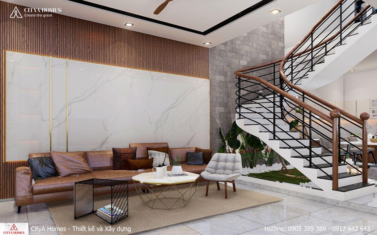 Sofa với chất điệu đà cùng mẫu gỗ đồng điệu với tone màu tổng thể căn nhà