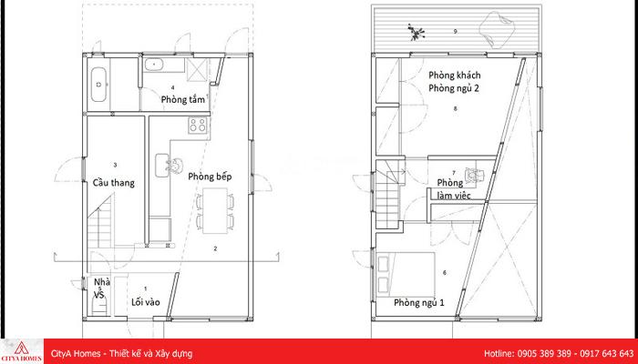 Bảng thiết kế mẫu nhà gác lửng đẹp 2 phòng ngủ