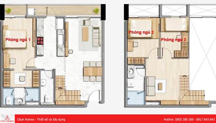 Bảng thiết kế nhà gác lửng hiện đại 3 phòng ngủ