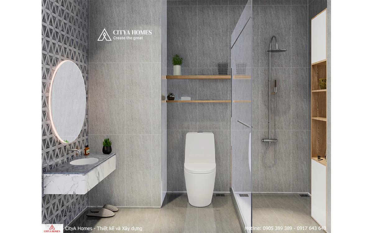 Bố trí phòng tắm đơn giản, hạn chế nội thất chiếm diện tích