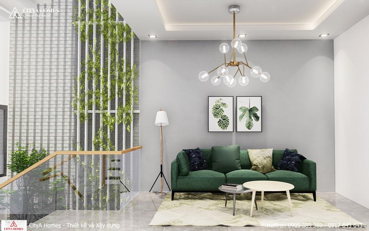 Các mảng xanh được đưa vào nhà một cách khéo léo