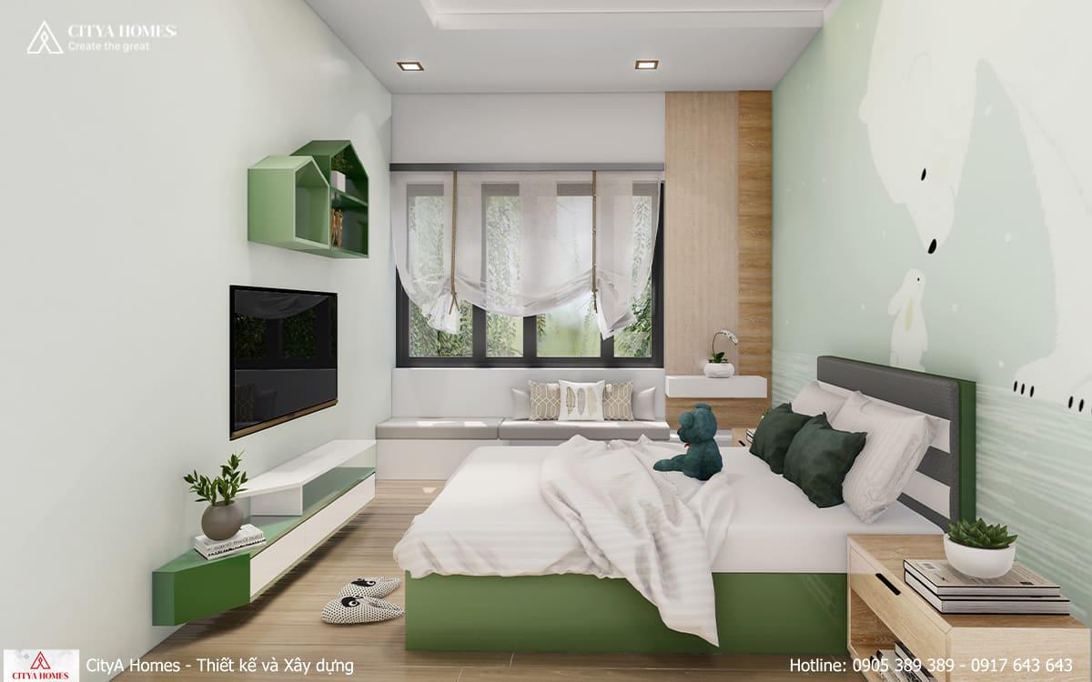 Căn phòng dành cho bé trai với các gam màu đối lập
