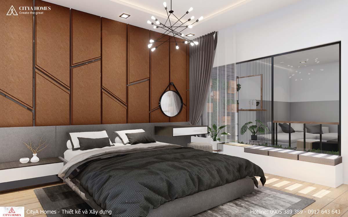 Căn phòng ngủ master nổi bật với mảng tường trang trí màu gỗ đậm