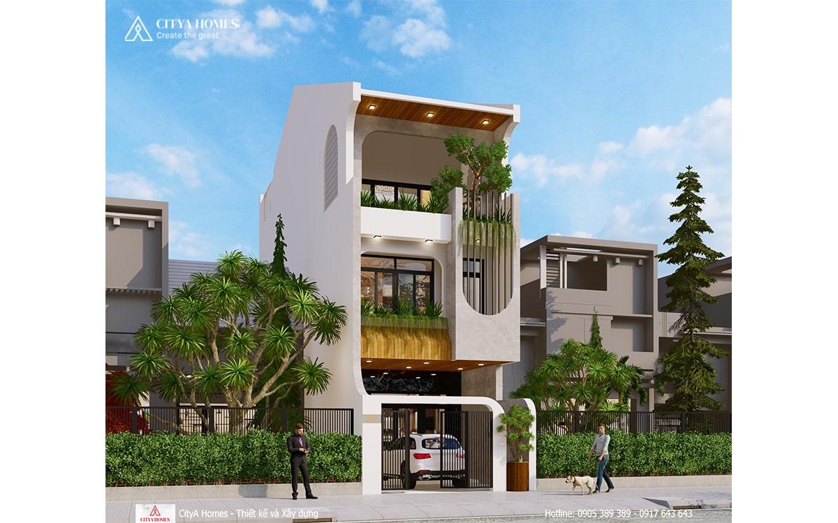 Cây xanh được bố trí ở mỗi tầng trước mặt tiền càng làm tăng thêm vẻ tươi mát cho ngôi nhà