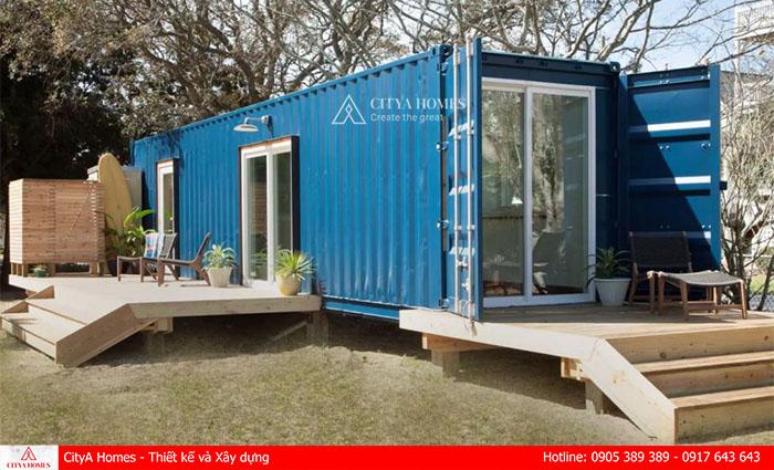Container nhà ở màu xanh tươi mới, mát mẻ