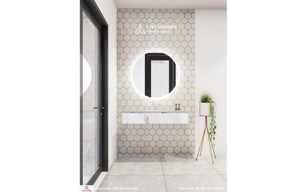 Đá tổ ong cách điệu được sử dụng trong phòng tắm nhằm tạo nên điểm nhấn mới ở từng không gian