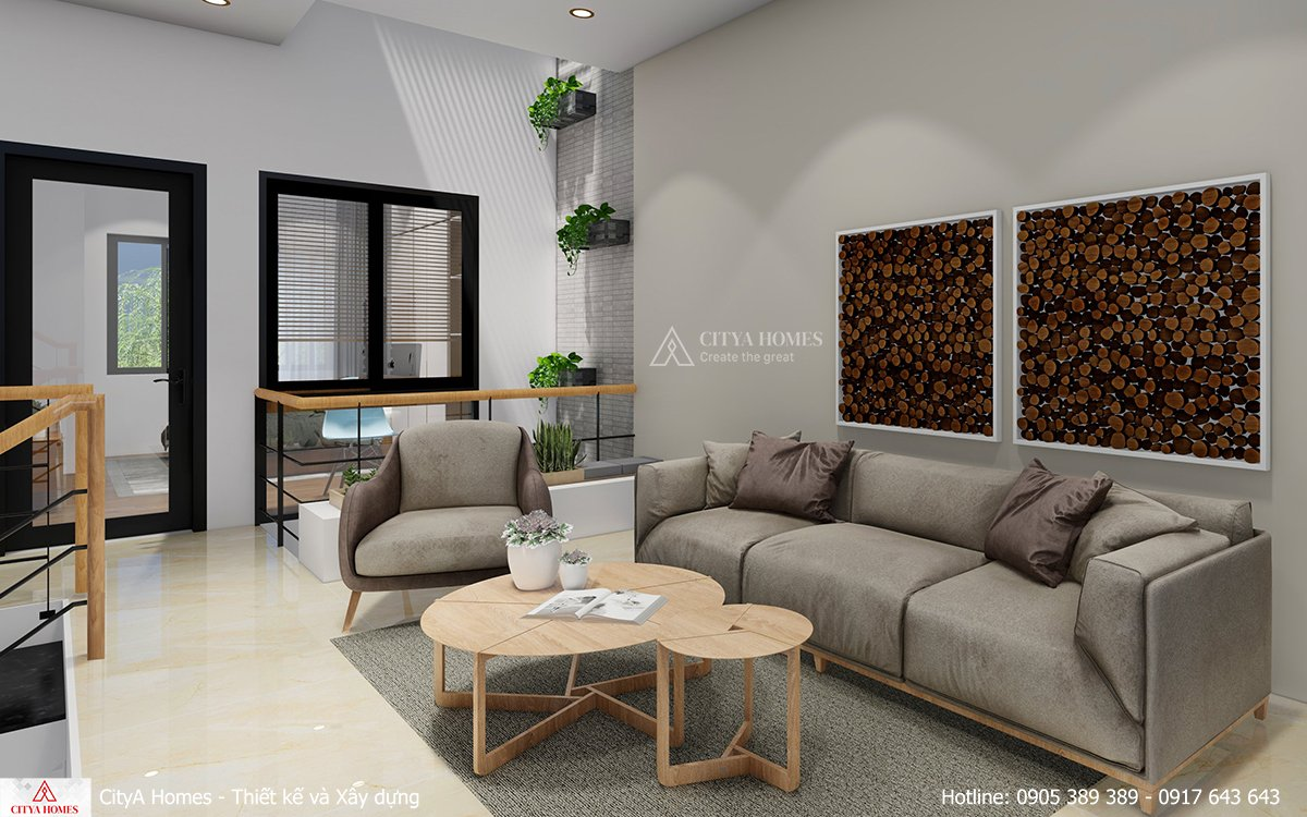 Góc sinh hoạt chung ấm áp với sofa màu ghi nhẹ nhàng