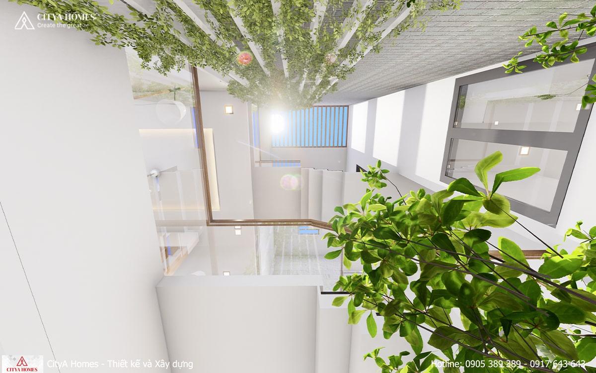 Hệ giếng trời cung cấp ánh sáng và đón gió vào nhà, giúp ngôi nhà trở nên thông thoáng hơn
