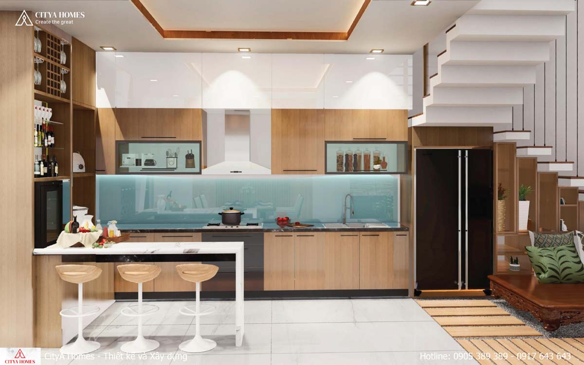 Không gian bếp phụ sau nhà