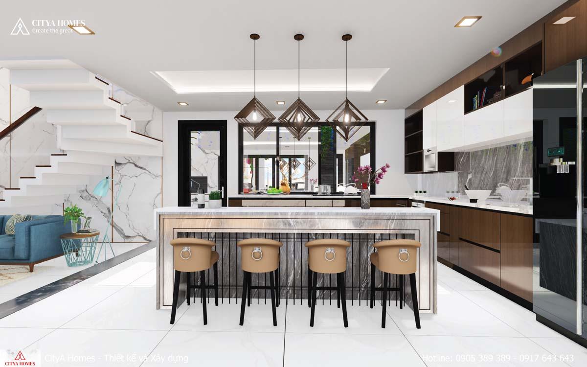 Không gian phòng bếp gây ấn tượng bởi quầy bar