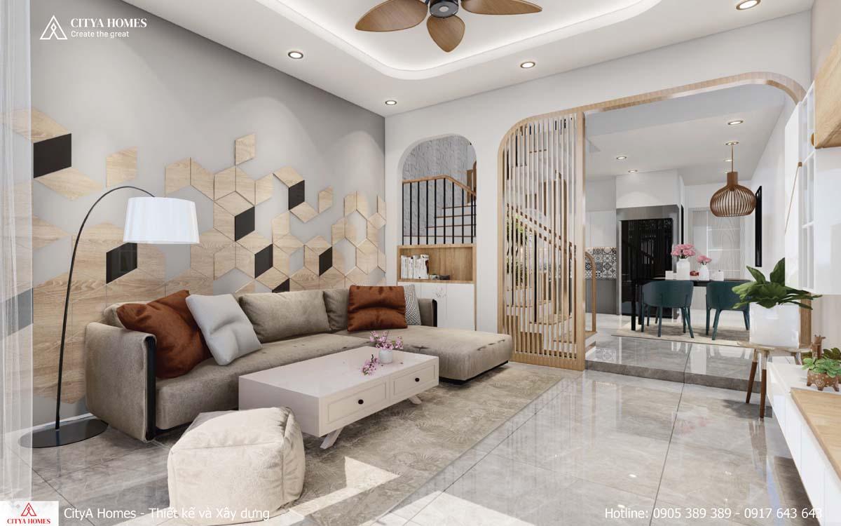 Không gian phòng khách được thiết kế hợp xu hướng
