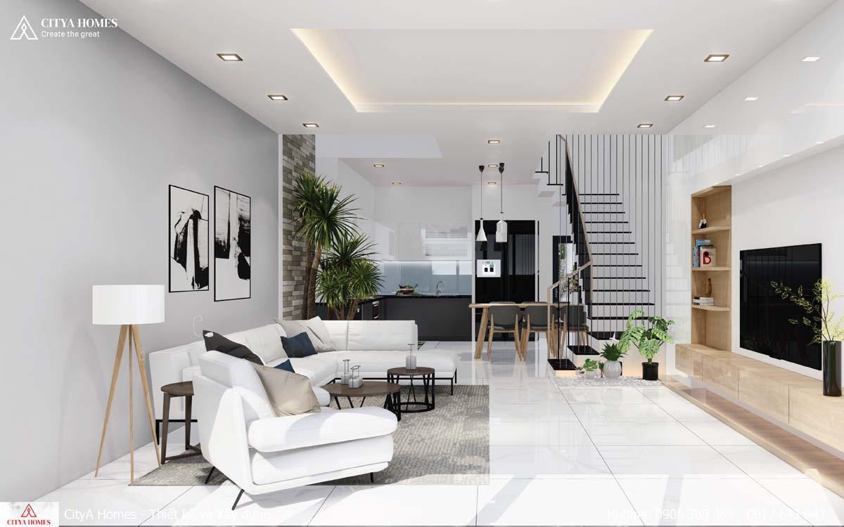 Không gian phòng khách nối liền với phòng bếp