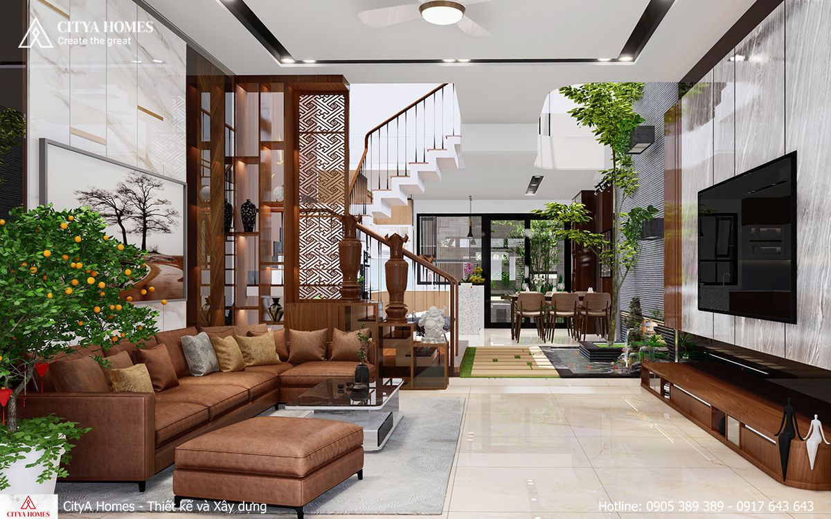 Không gian phòng khách và phòng bếp được được bố trí không gian xanh