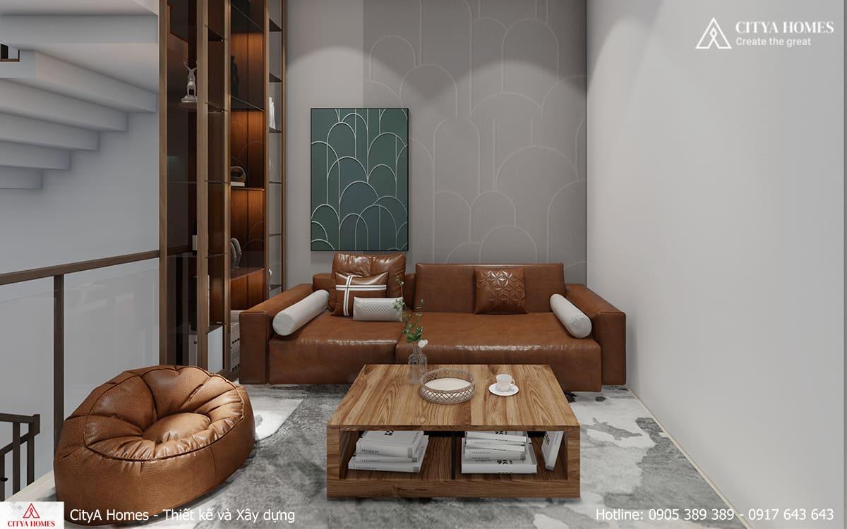 Không gian sinh hoạt chung ấm áp với sofa cùng màu gỗ đặc trưng