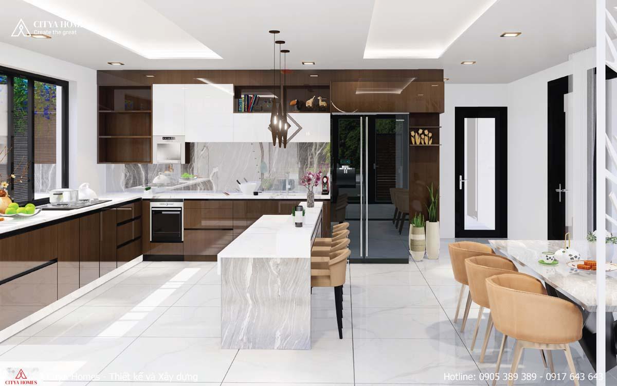 Không gian toàn bộ gian bếp được bố trí thông minh, hợp lý