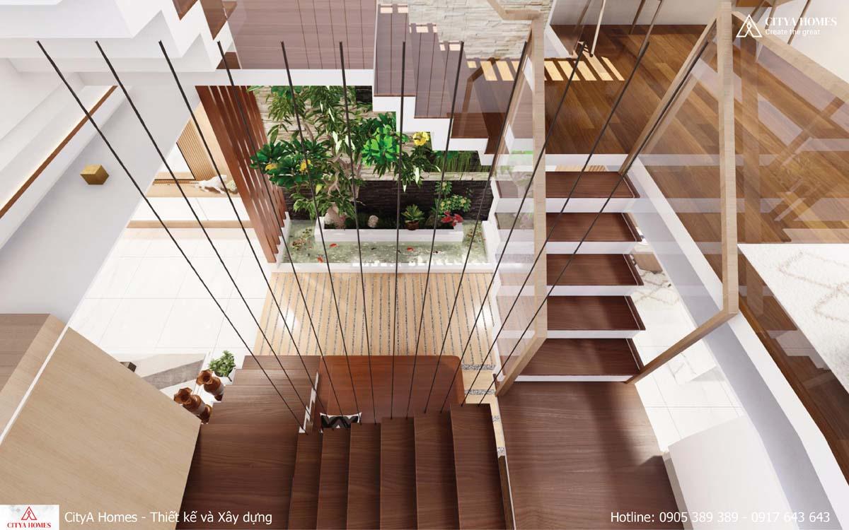 Không gian xanh được bố trí giữa khoảng đệm giữa phòng khách và bếp