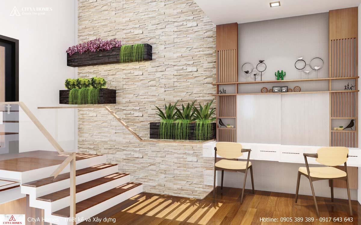 Không gian xanh được tận dụng trong mọi khoảng không gian nhà
