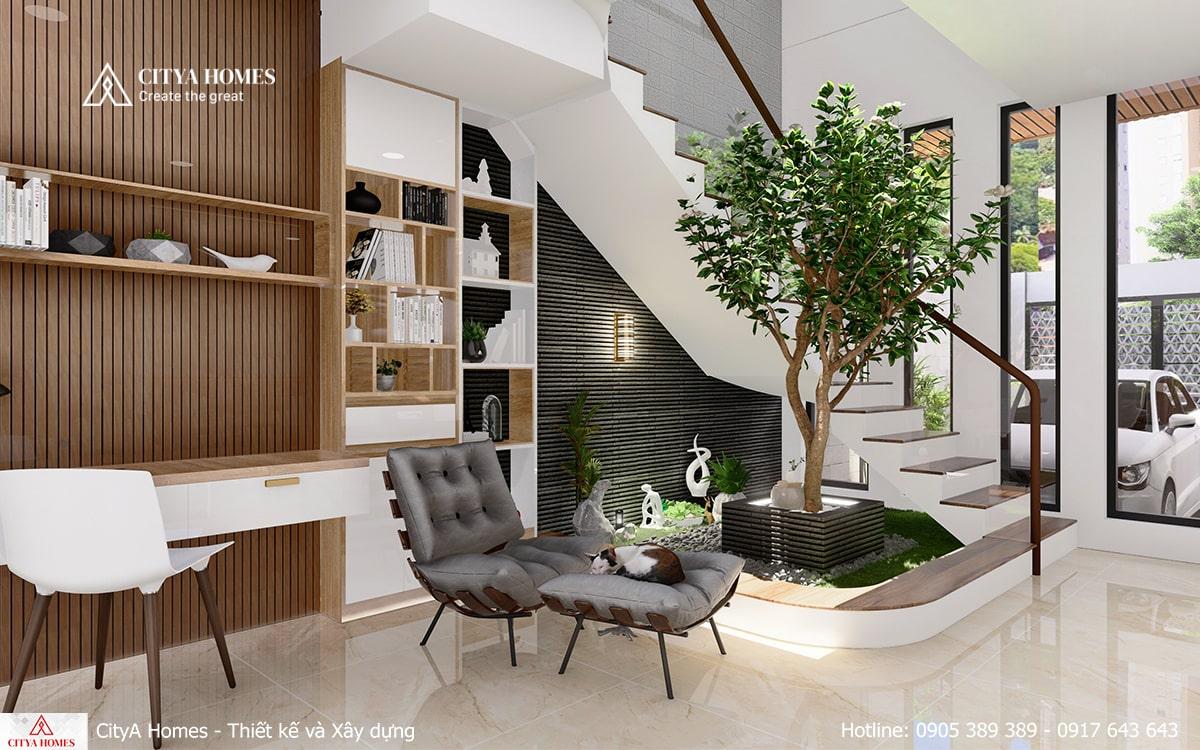 Khu vực làm việc được đặt ở tầng 1 nhằm tiết kiệm không gian, mở rộng diện tích sinh hoạt