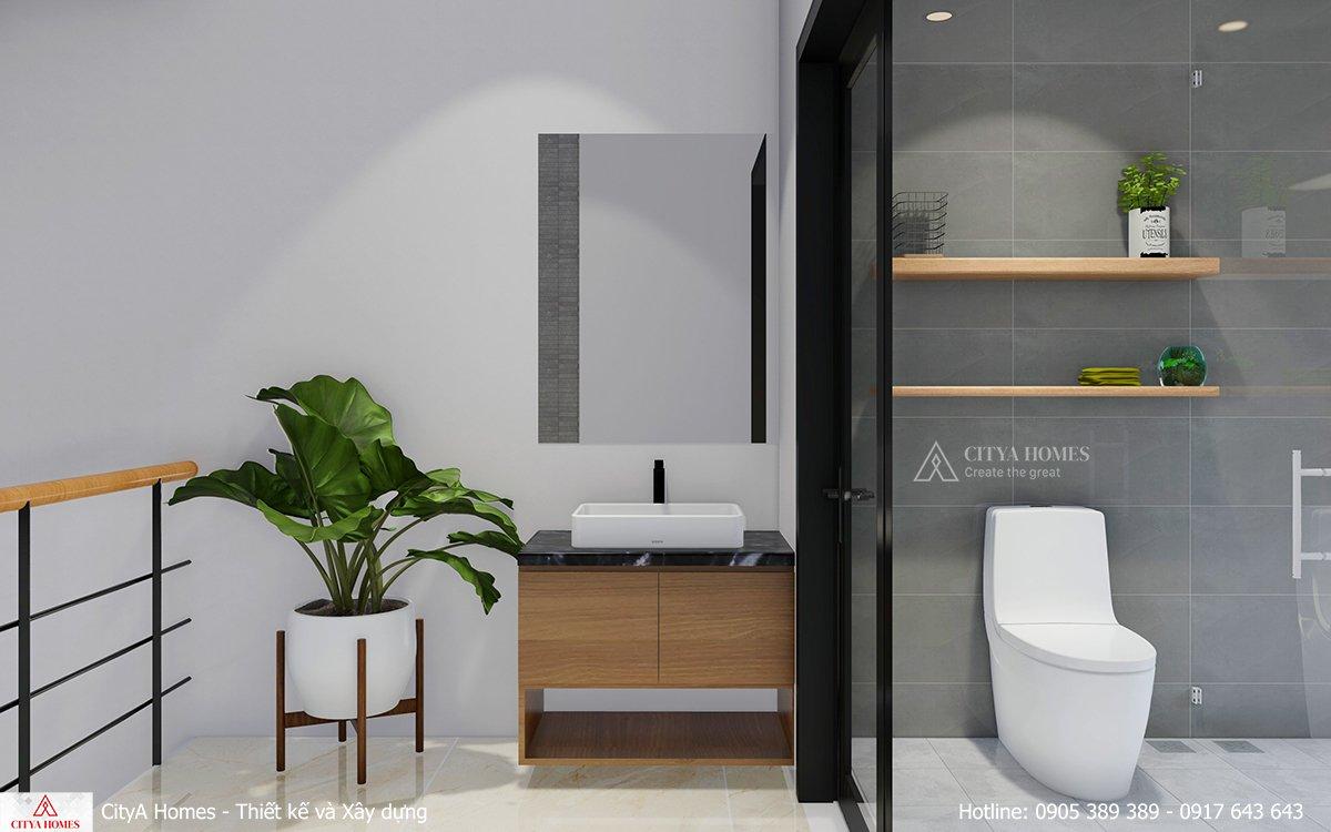 Khu vực rửa mặt và tắm rửa được cách biệt bởi cửa kính lớn chống nước hiệu quả