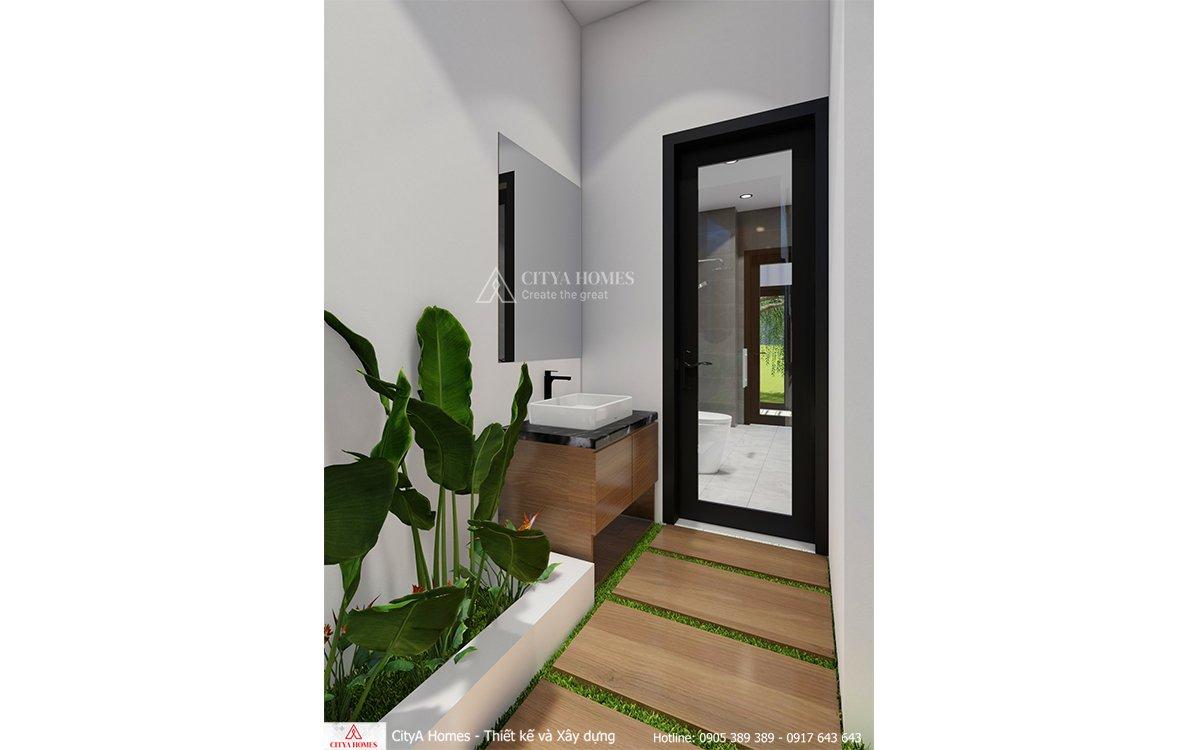Lavabo được đặt bên ngoài phòng tắm nhằm tăng thêm tính tiện lợi cùng diện tích sử dụng