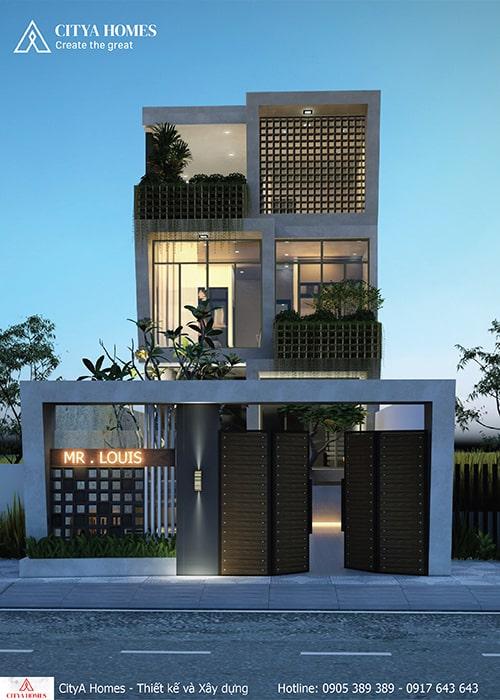 Mặt tiền biệt thự 3 tầng tại Đà Nẵng không gian xanh đẹp mắt