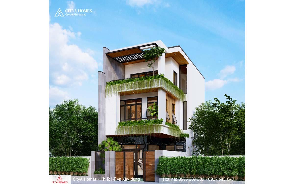 Mặt tiền ngôi nhà 3 tầng với thiết kế đơn giản mà không kém phần ấn tượng