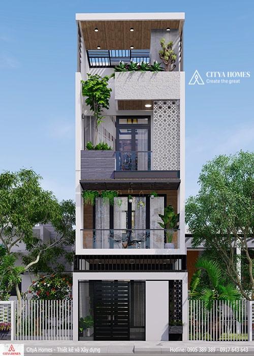 Mặt tiền nhà phố hiện đại 3 tầng 1 tum tại Đà Nẵng