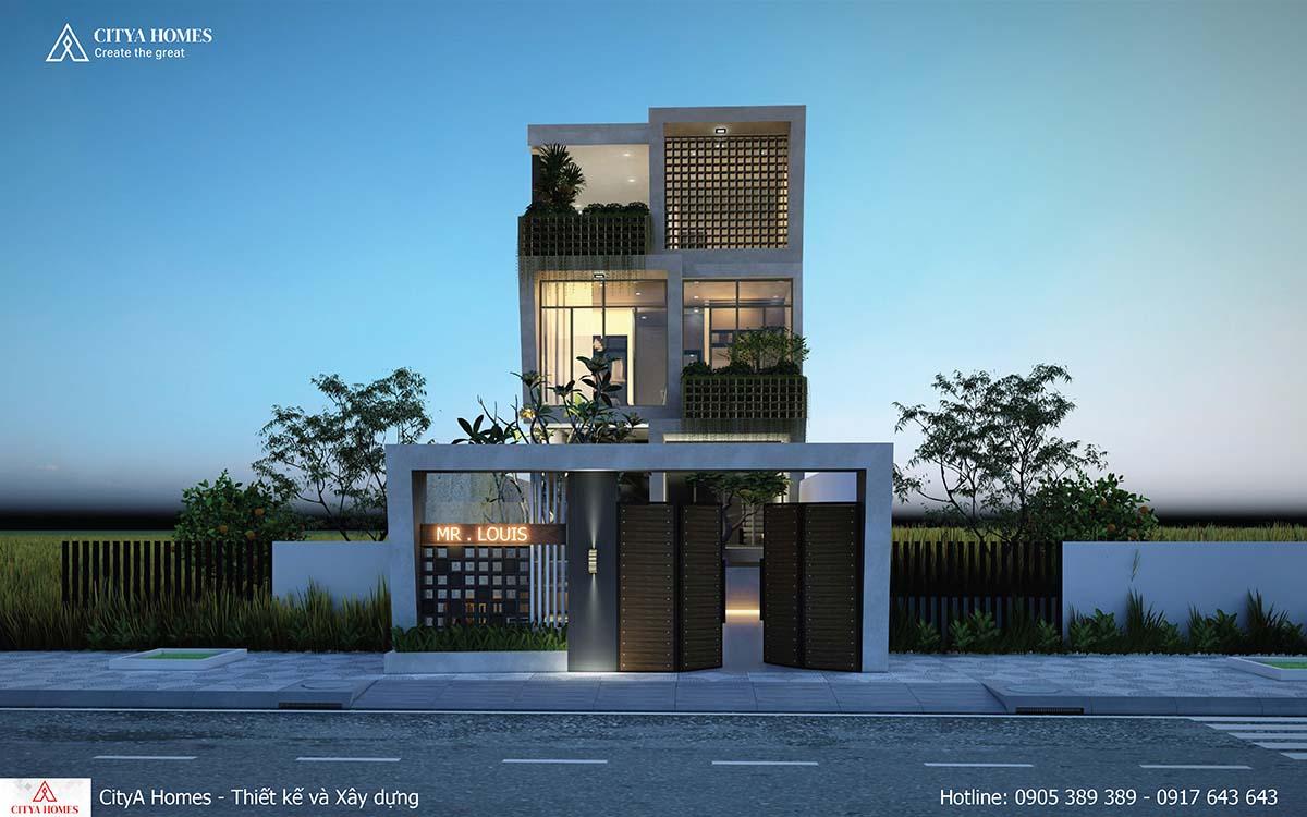 Mặt tiền phong cách mới với sự xuất hiện của cây xanh và các hình khối kiến trúc