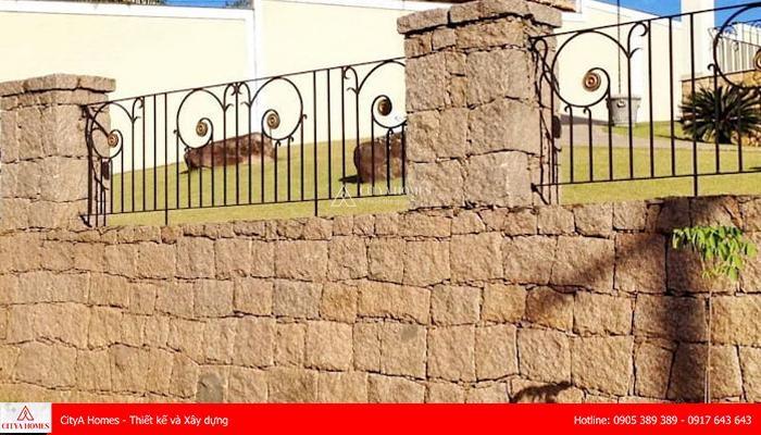 Mẫu cổng hàng rào bằng đá hiện đại