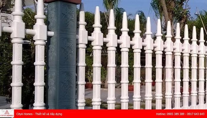 Mẫu hàng rào bê tông đẹp phong cách trụ tháp - 2