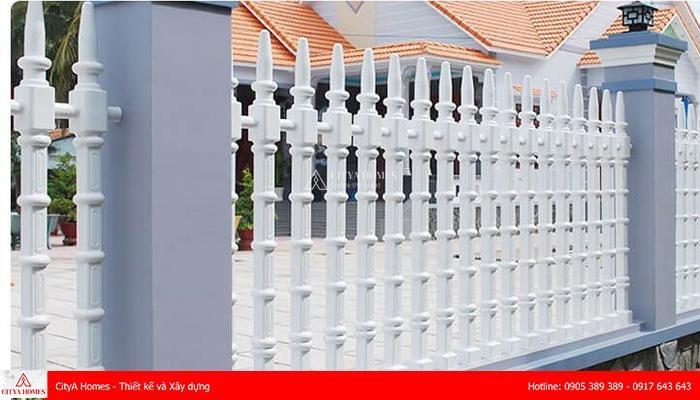 Mẫu hàng rào bê tông đẹp phong cách trụ tháp