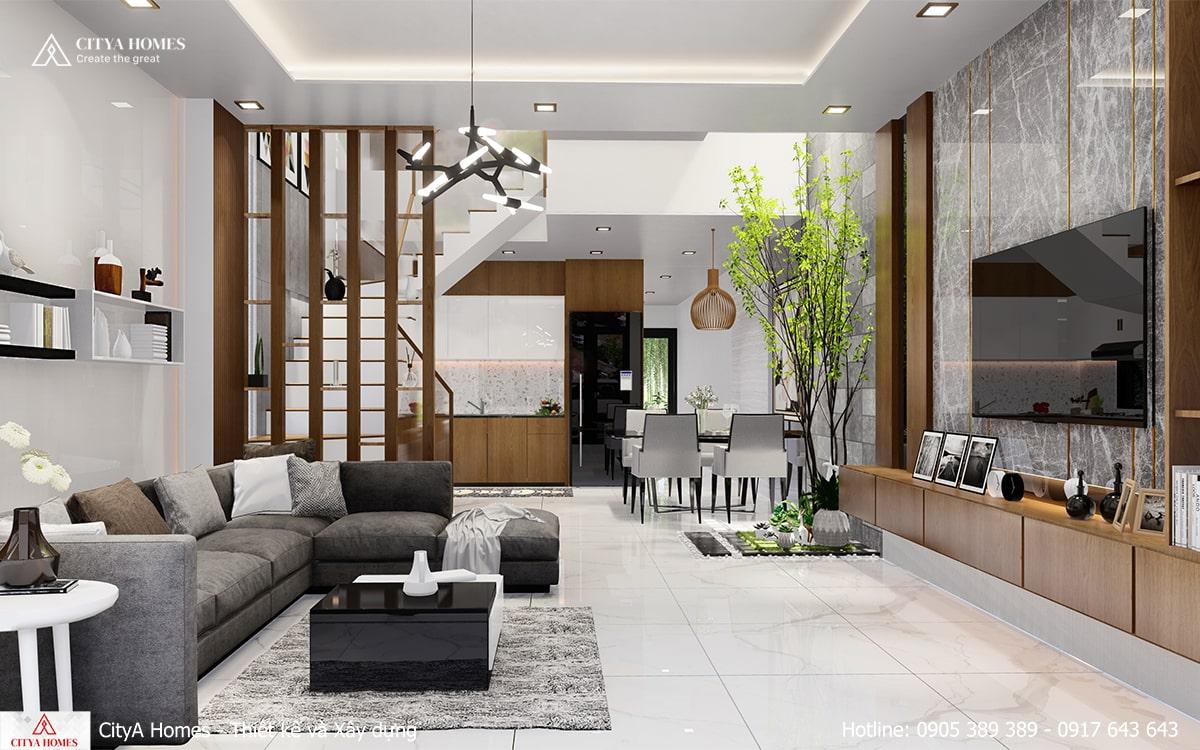 Mẫu không gian phòng khách rộng và thoáng