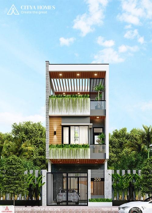 Mẫu mặt tiền 2 tầng rưỡi bố trí nhiều cây xanh