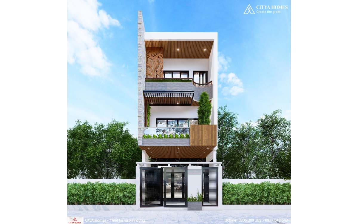 Mẫu nhà 3 tầng kết hợp không gian xanh