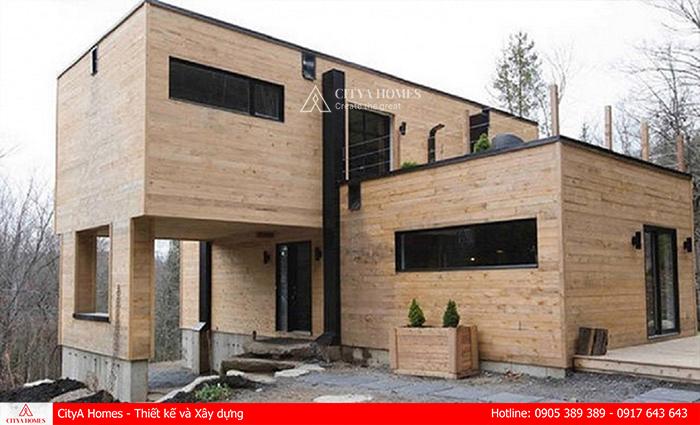 Mẫu nhà container 2 tầng màu gỗ hiện đại