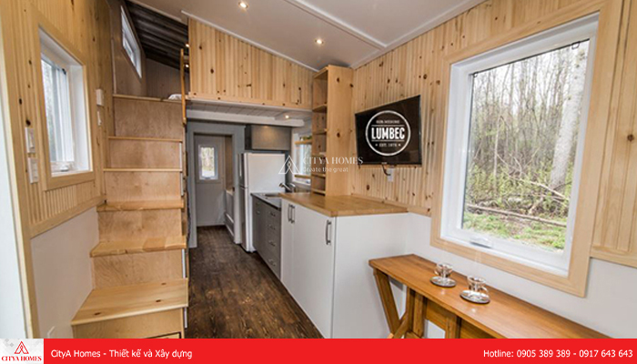 Mẫu nhà gác lửng nhỏ đẹp sử dụng màu gỗ - 2
