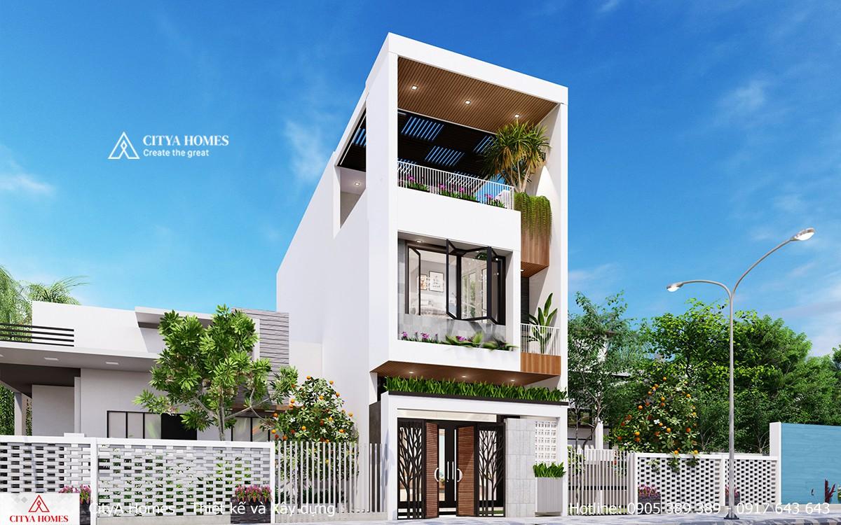 Mẫu nhà mặt tiền 2 tầng tum hot nhất 2021