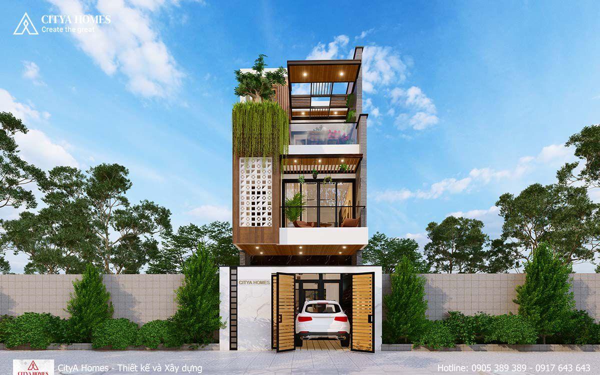 Mẫu nhà phố 2 tầng 1 tum được yêu thích nhất 2021