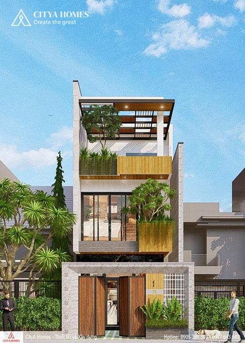 Mẫu nhà phố 2 tầng 1 tum Huế đẹp 2021