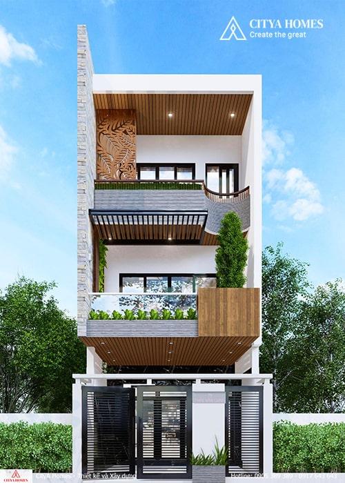 Mẫu nhà phố 3 tầng không gian xanh tại Đà Nẵng