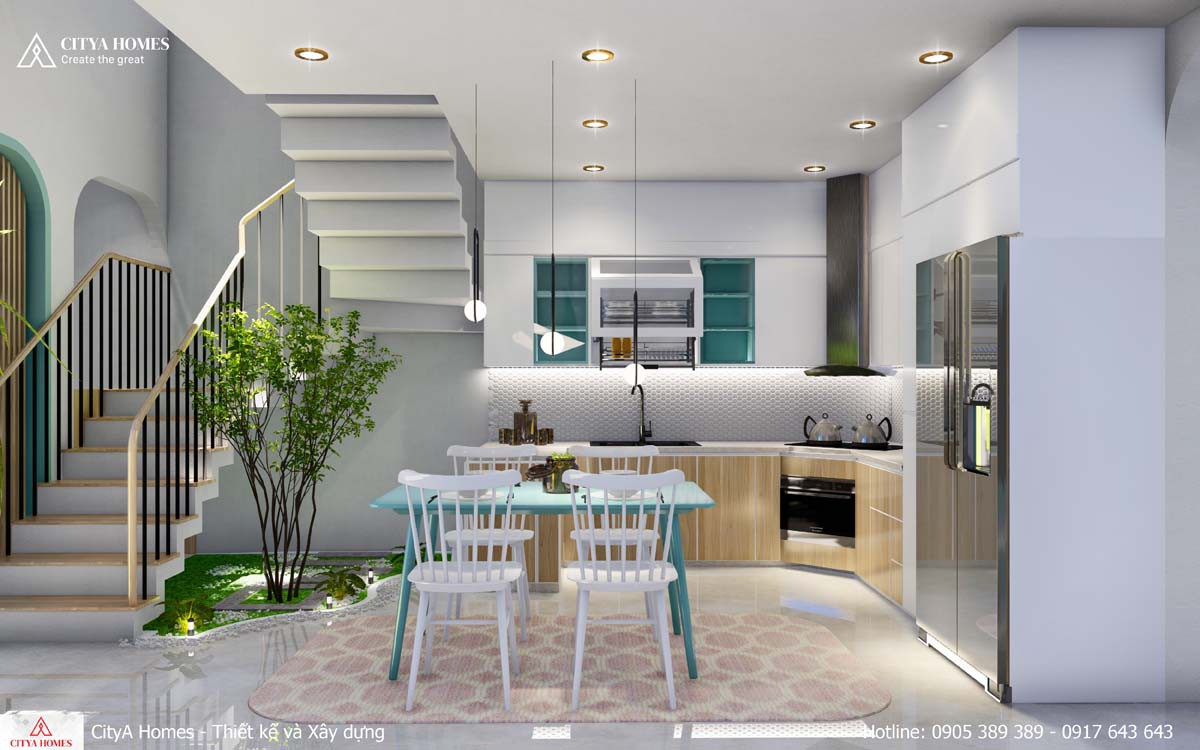 Mẫu phòng bếp có tiểu cảnh không gian xanh và lấy sáng từ thông tầng