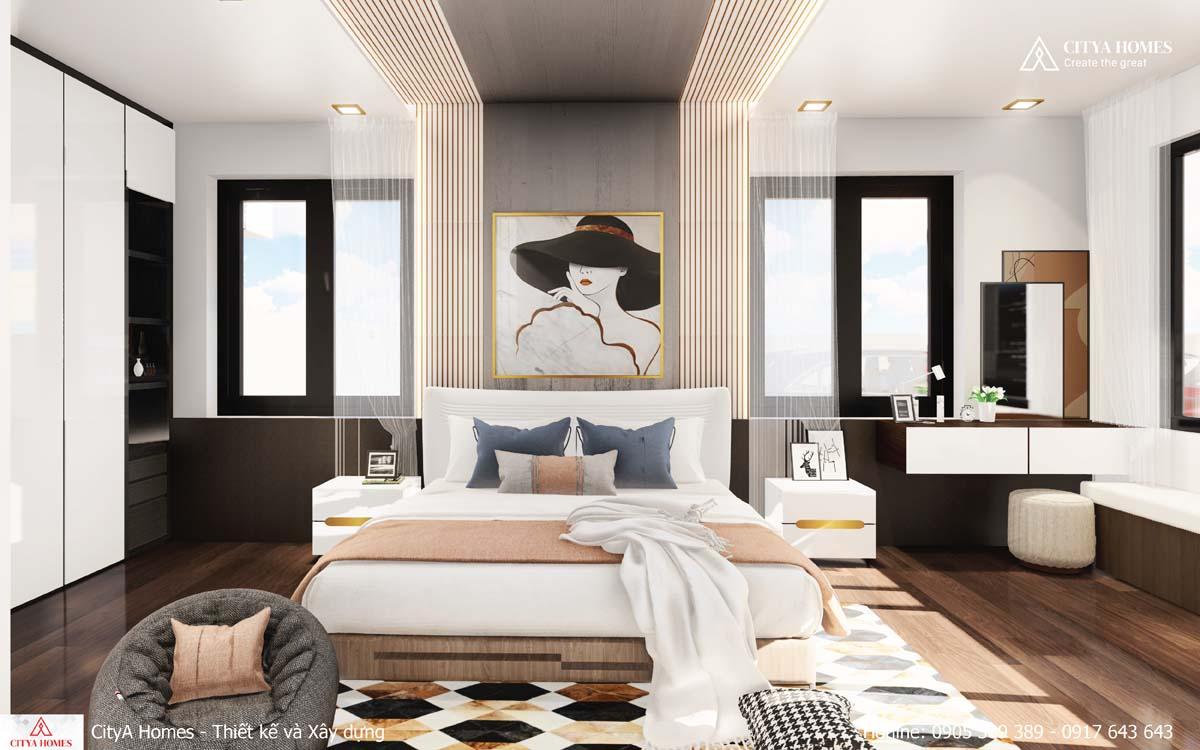 Mẫu phòng ngủ được thiết kế màu dịu nhẹ, phù hợp với phái nữ